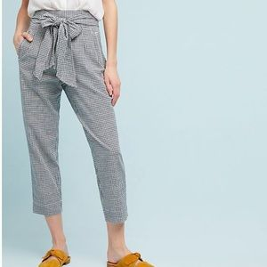 Anthro Cartonnier Tie-Waist Gingham Trousers